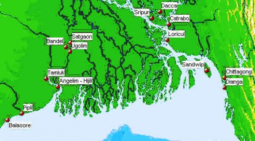 Major and smaller Portugese settlements in Bengal,India