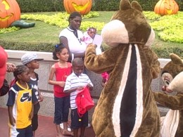 Chip and Dale greeting my nieces, nephews, and my son.