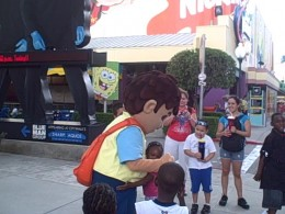 Diego greeting my nieces, nephews, and son at Universal Studios.
