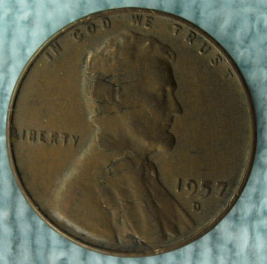 1957D Lincoln Wheat Penny Obverse Planchet Flaw