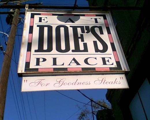 Doe's Eat Place, a little hole in the wall near the Amtrak train station, an old haunt of President Clinton