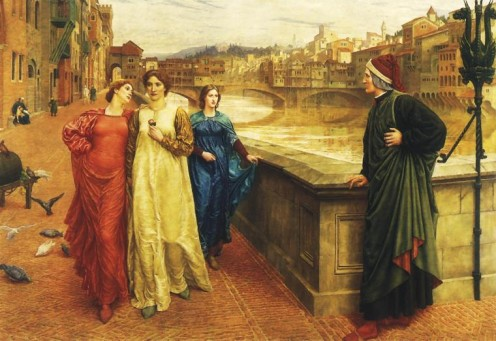 """Dante meets Beatrice at Ponte Santa Trinita"", by Henry Holiday (1839 - 1927), 1883,"