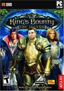 The official packaging for King's Bounty: The Legend. It displays the three playable classes. From left to right: Mage, Warrior, Paladin.