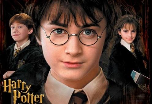 Hermione Granger (Emma Watson), Harry Potter (Daniel Radcliffe), and Ron Weasley (Rupert Grint)