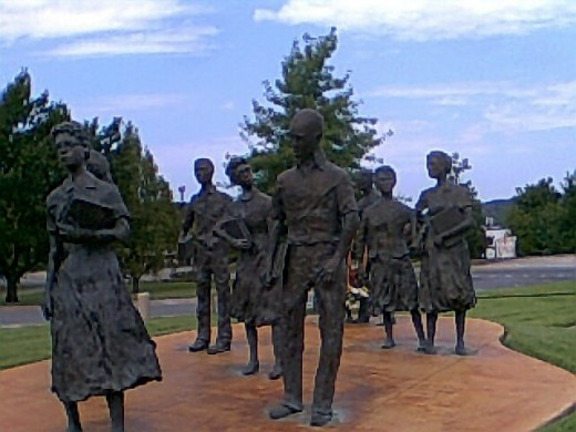 The Little Rock 9, a sculpture near the Arkansas State Capitol honoring the brave students who helped desegregate Central High School