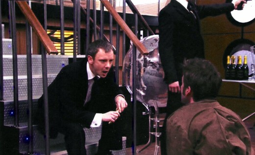 The Master attacks The Doctor in Doctor Who