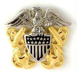 U.S. Naval Officer's Crest, worn on the Officer's Cover.