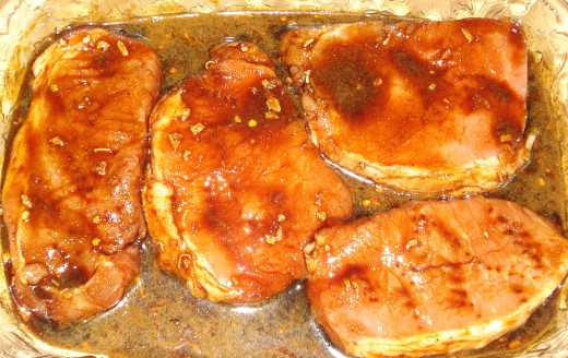 Molasses gives the pork chop marinate a rich color.