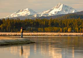 Fly fishing at the lake