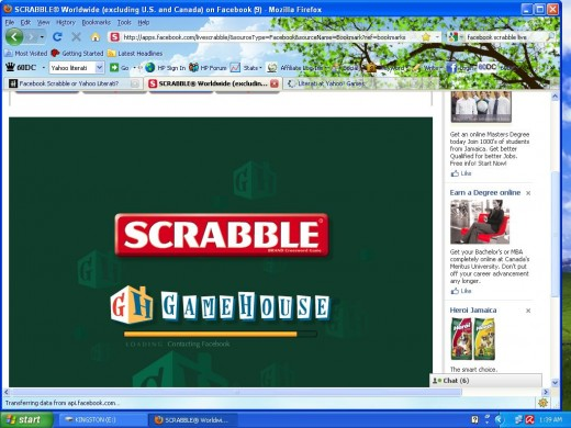Facebook Scrabble Worldwide.  This is the screen you see while game is loading.