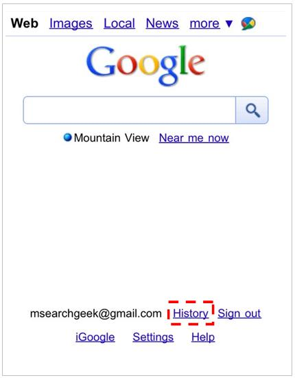 Google Search History on Your Mobile