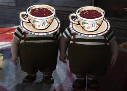 KoffeeKlatch-dee and KoffeeKlatch-dum, the Dresden-twins - Image by Enelle Lamb, photo from whatsontv.co.uk