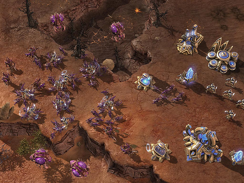 Here you can see a small number of zealots defending against a much larger Zerg force. While they are not invincible, they can take on forces as much as 4 times bigger in number.