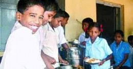 School children being served at lunch time