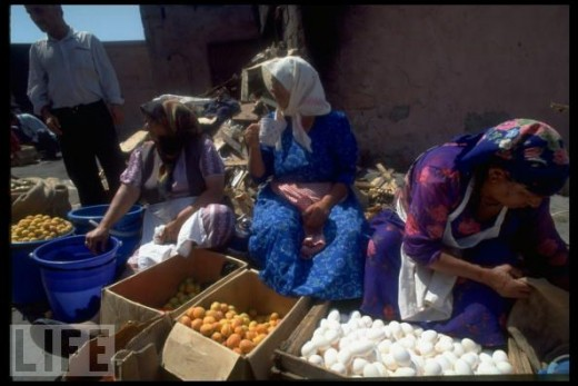 Old women selling their goods.
