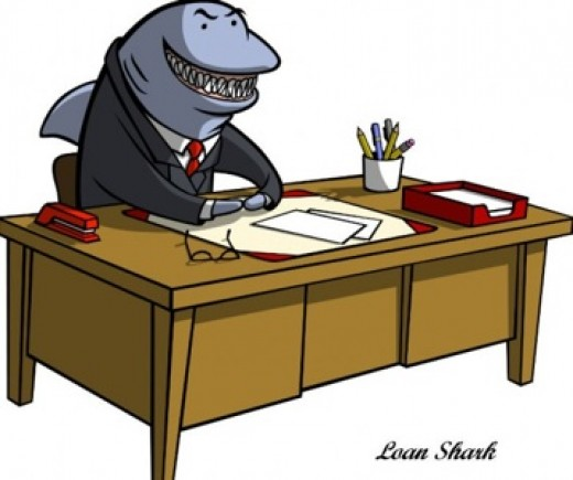 The idea of the loan shark description comes from ideas of the feeding habits of sharks, as this cartoon suggests.
