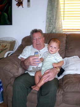 My father with one of his great-grandchildren