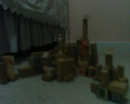 Blocks arranged in towers