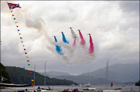 The Red Arrow's Display for the Windermere Air Show.
