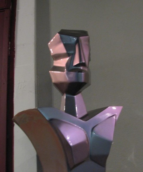 Purple man sculpture