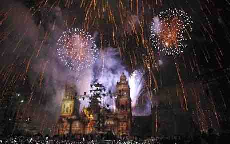 Mexico City's Zocolo at midnight, September 16th. 2010.  A huge, 200 th. birthday party begins!  Viva Mexico!!!
