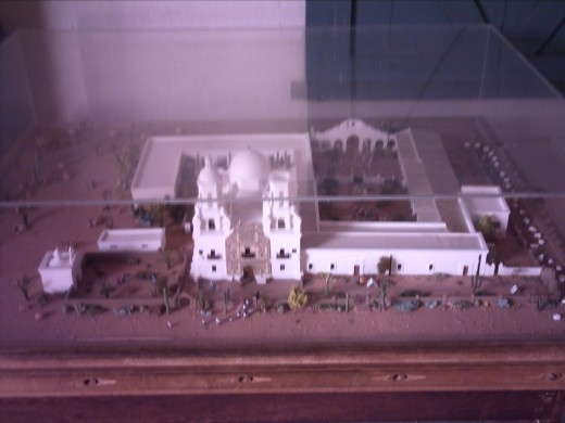 Model showing layout of 18th Century Mission San Xavier del Bac in Tucson, Arizona