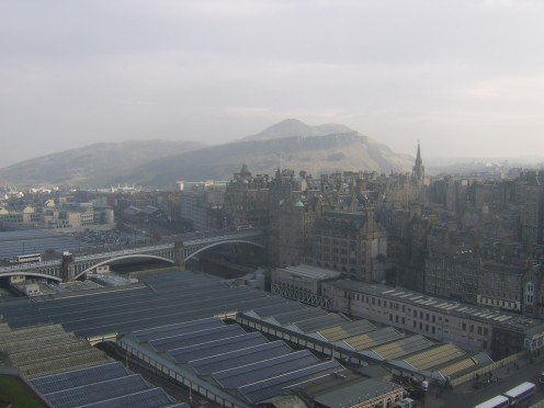Edinburgh's Waverley Station, as seen from the top of The Scott Monument