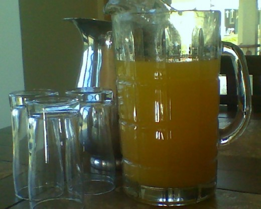 A pitcher of delicious homemade orangeade...just add seltzer to make it soda