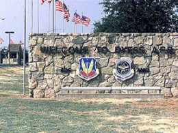 Front gate at Dyess Air Force Base.