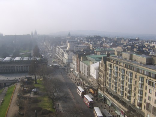 The Scott Monument - Looking West along Princes Street and towards The Haymarket