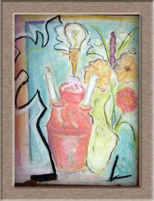 Joshua Sunforged - still life with pastels