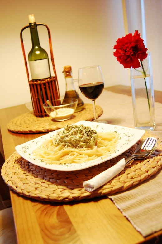 pasta cooked with wine