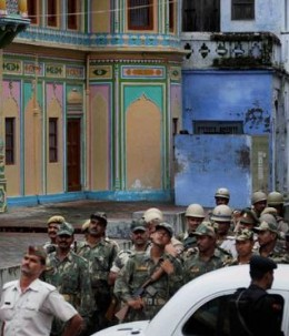 Personnel in Ayodhya on Thursday as part of tight security arrangements, ahead of the verdict on Ayodhya title suits. The Lucknow bench of the Allahabad High Court on Friday dismissed a petition seeking deferment of its Sept. 24 verdict in the case.