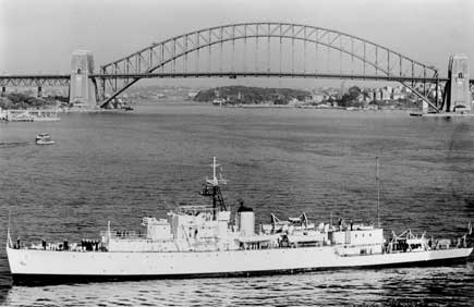 WW2 River Class frigate, HMAS Barcoo, anchored in Sydney Harbour in 1950s.