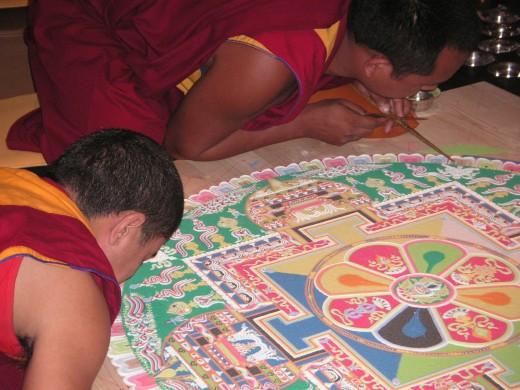 Tibetan monks creating a virtual mandala.
