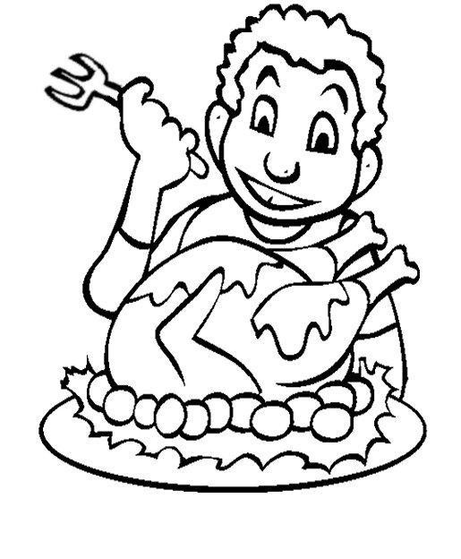 Thanksgiving Holiday Dinners Kids Coloring Pages Free Colouring Pictures