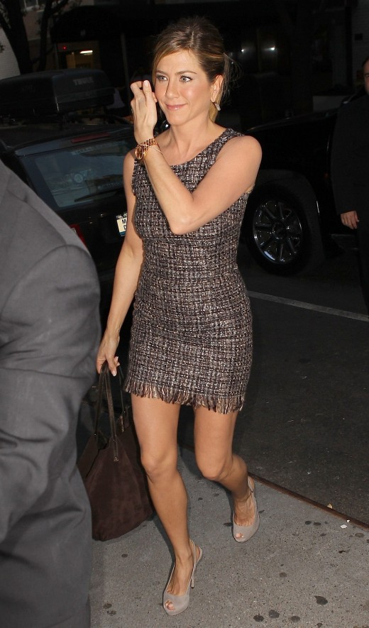 Jennifer Aniston in a Mini Dress and High Heels