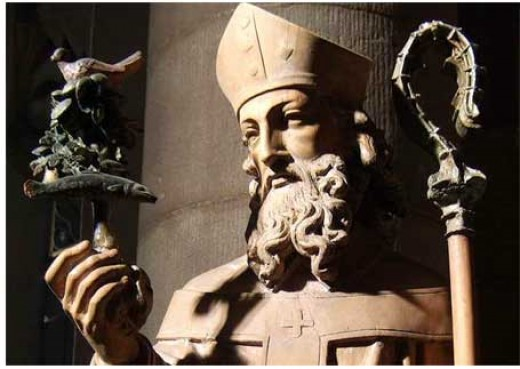statue of St Mungo in nearby church of St.Mungo, Townhead, Glasgow