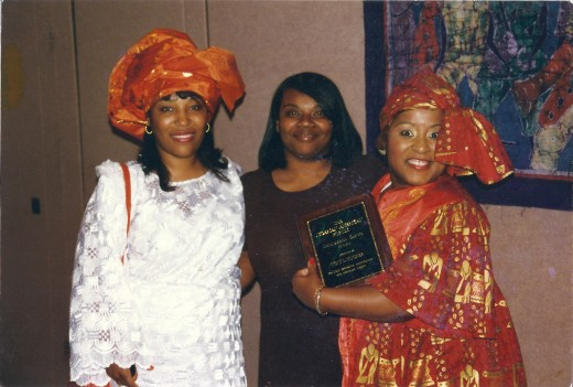 Back in 1998!  I moderated a Nigerian Banquet and this is my older sister Lori to your left, and younger sister, Keshia, in the middle.  I am holding yet another beautiful Plaque I was given by the Nigerians for speaking at their event.