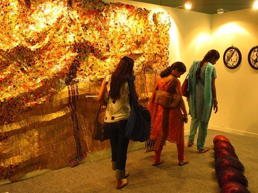 People visiting local doll art museum in Delhi