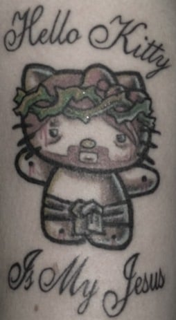 One day if the owner of this hello kitty style tattoo might find religion and he's going to get all sorts of strange looks in church.