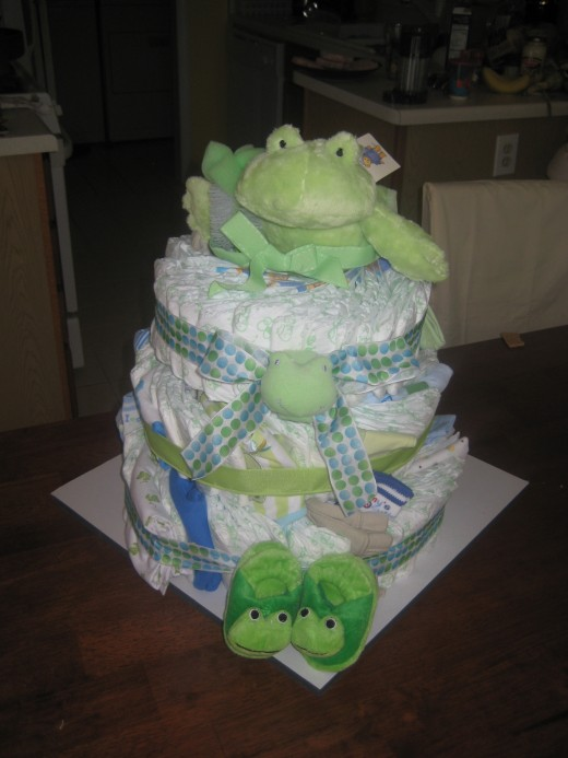 Froggy-themed diaper cake I built with my mother-in-law
