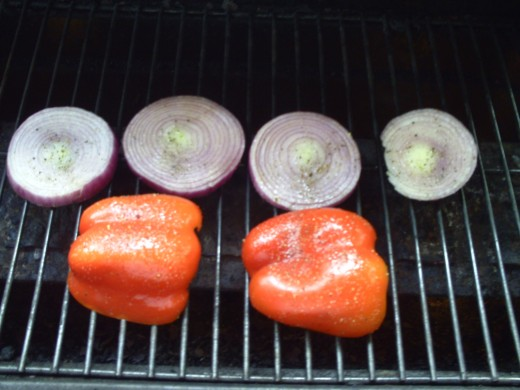 Grilling the Red Bell Peppers and Red Onions