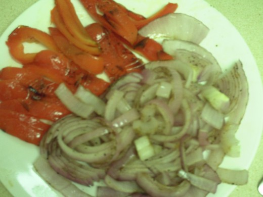 Red Bell Peppers and Red Onions Chopped Up for sanswich