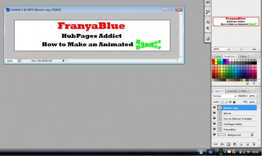 Create the layers required for your animated banner