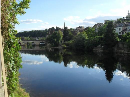 The old Bridge in Argenton sur Creuse seen from the Musee de la chemiserie