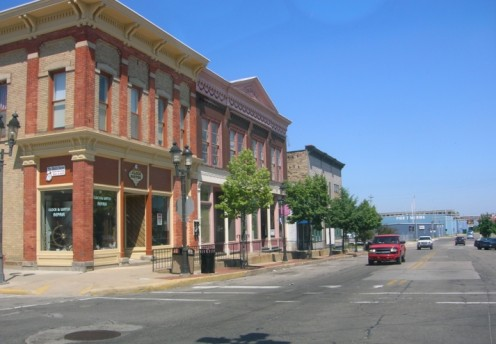 Historic buildings downtown on the west side of the Saginaw River.