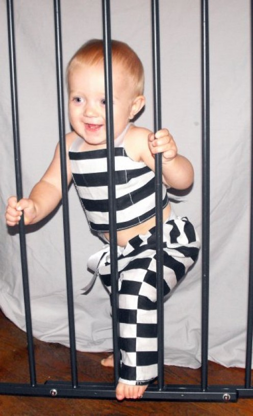 Jailer Costume, so cute it should be criminal! Costume was handmade by me!
