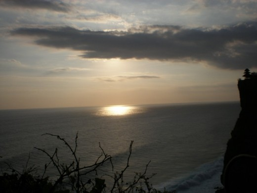 The view of Uluwatu at sunset