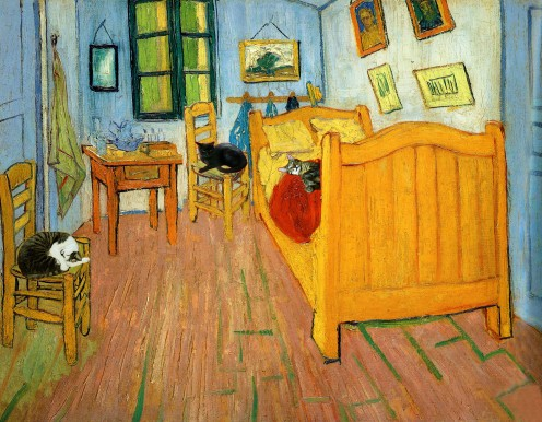 Cat Art Exposes Vincent Van Gogh's Dilemma - Where to sleep without disturbing his cats.